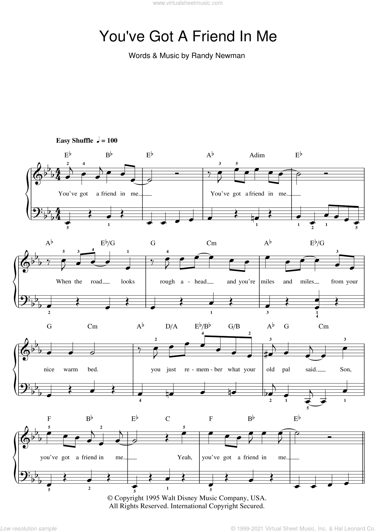 You've Got A Friend In Me (from Toy Story) sheet music for piano solo (beginners) by Randy Newman and Toy Story (Movie), beginner piano (beginners)