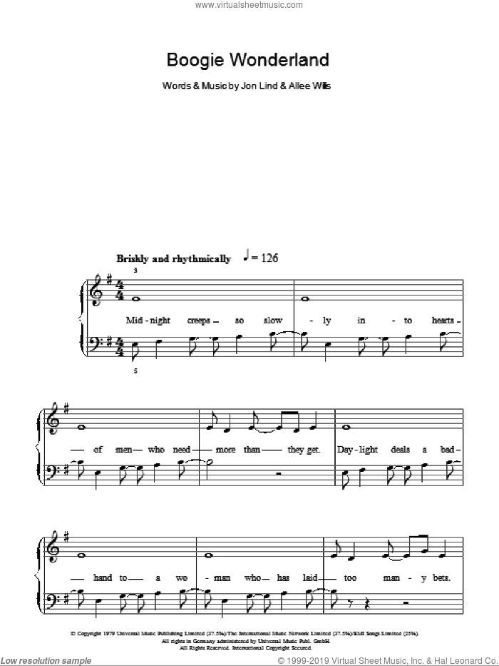 Boogie Wonderland sheet music for piano solo by Jon Lind, Earth, Wind & Fire and Allee Willis. Score Image Preview.