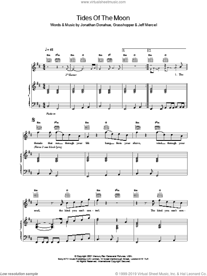 Tides Of The Moon sheet music for voice, piano or guitar by Jonathan Donahue and Mercury Rev. Score Image Preview.