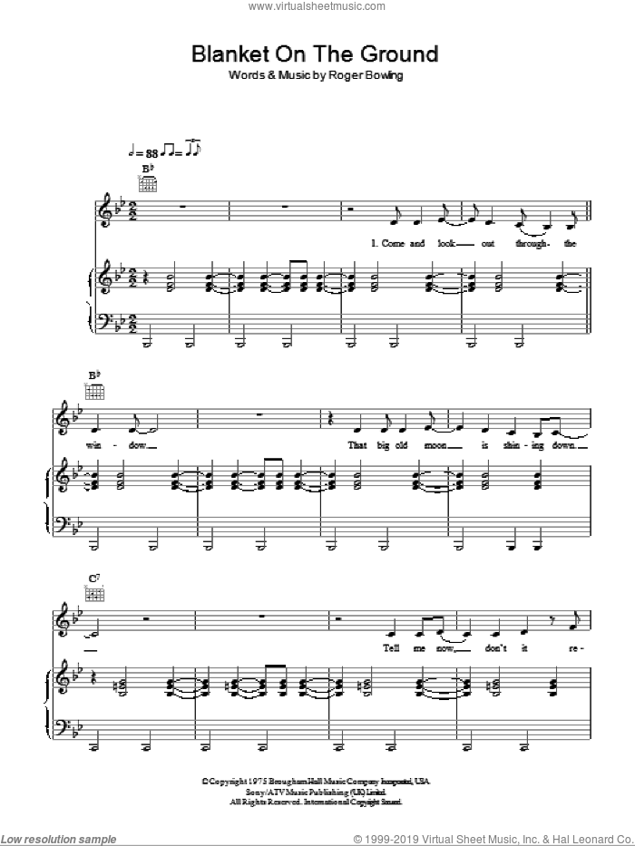 Blanket On The Ground sheet music for voice, piano or guitar by Billie Jo Spears, intermediate. Score Image Preview.
