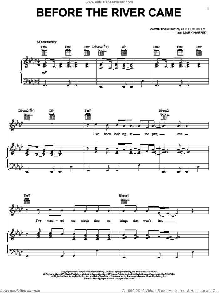 Before The River Came sheet music for voice, piano or guitar by 4Him and Mark Harris. Score Image Preview.