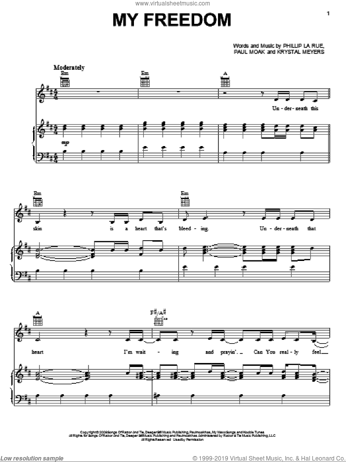 My Freedom sheet music for voice, piano or guitar by Phillip Larue. Score Image Preview.
