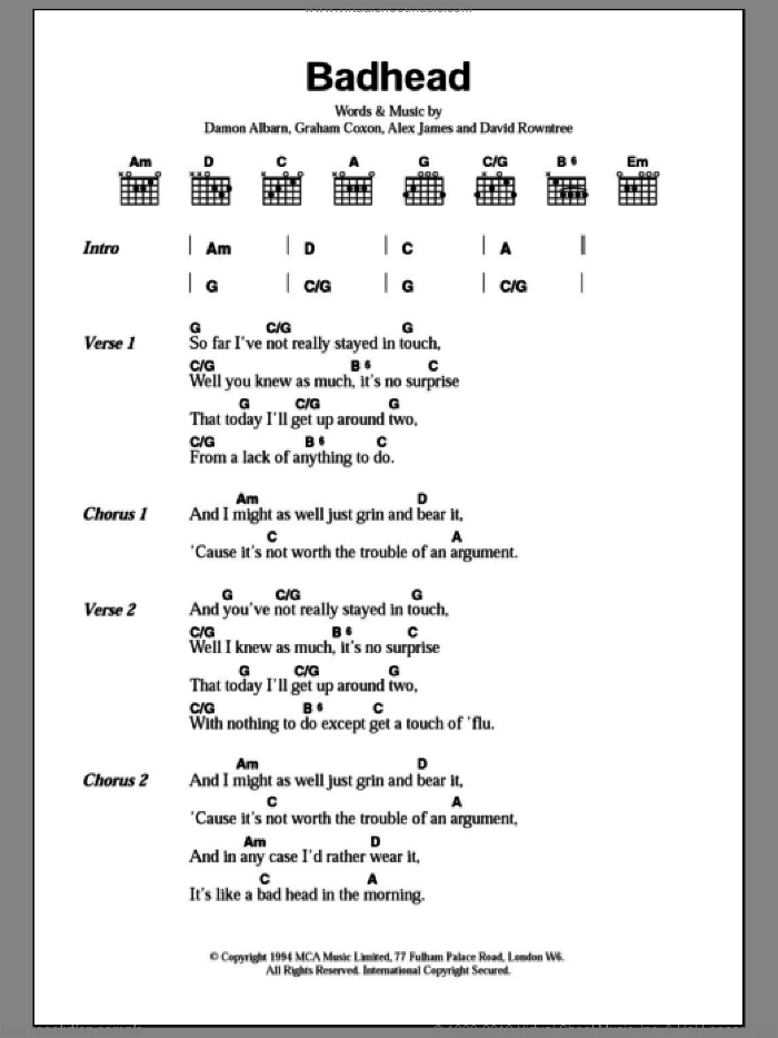 Badhead sheet music for guitar (chords) by Blur, Alex James and Damon Albarn. Score Image Preview.