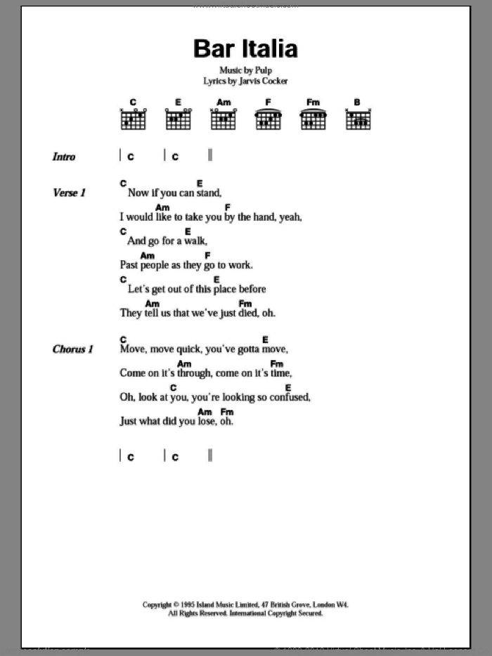 Pulp - Bar Italia sheet music for guitar (chords) [PDF]