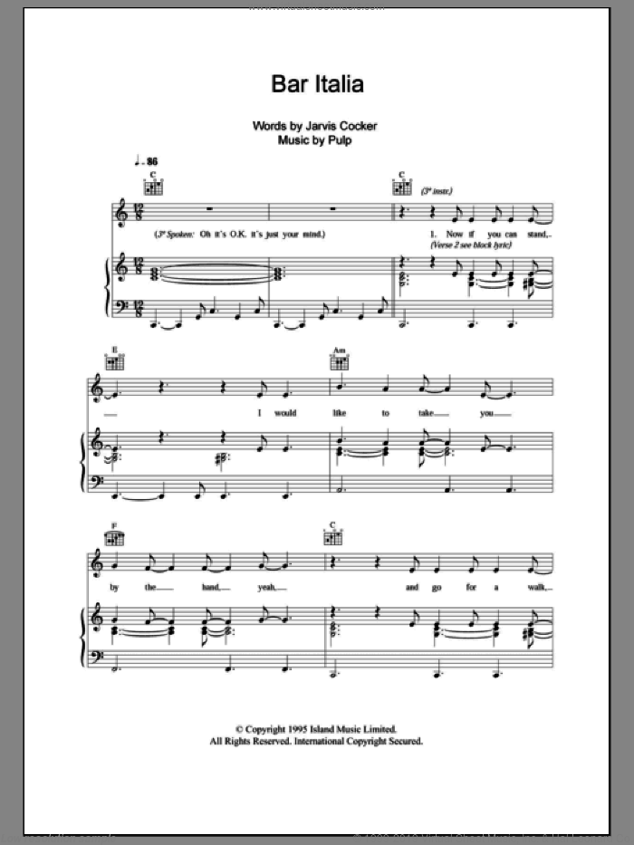 Bar Italia sheet music for voice, piano or guitar by Pulp and Jarvis Cocker, intermediate