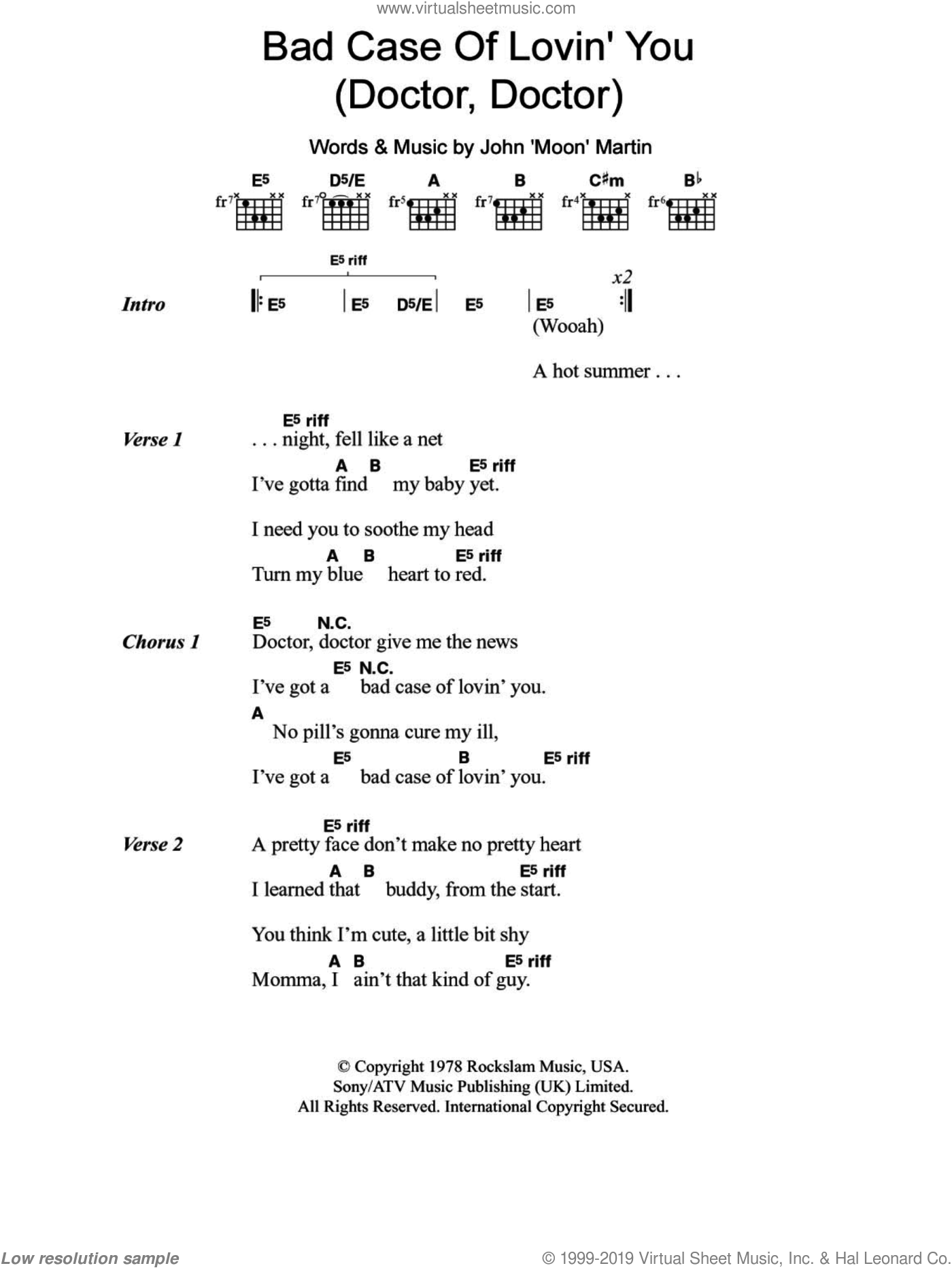 Bad Case Of Lovin' You (Doctor, Doctor) sheet music for guitar (chords) by Robert Palmer and John Moon Martin, intermediate skill level