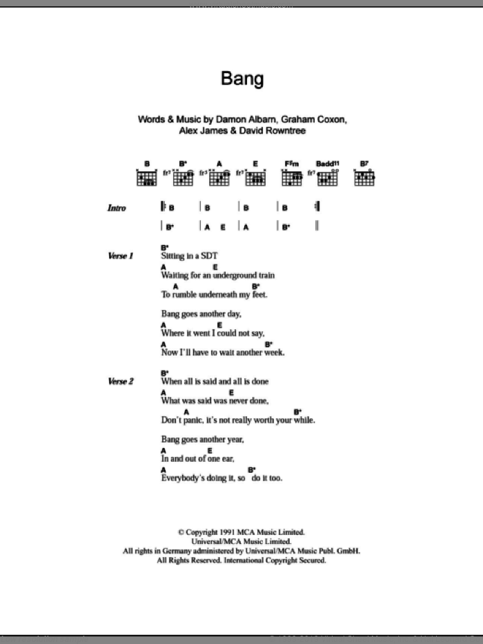 Bang sheet music for guitar (chords) by Blur, Alex James and Damon Albarn