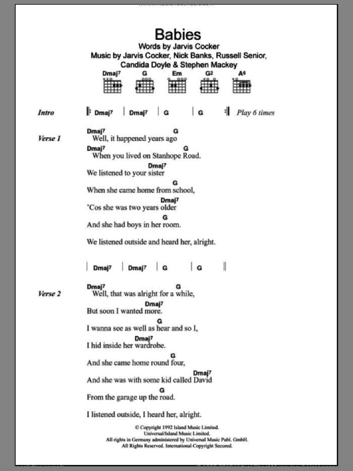 Babies sheet music for guitar (chords) by Stephen Mackey, Pulp, Candida Doyle and Jarvis Cocker. Score Image Preview.