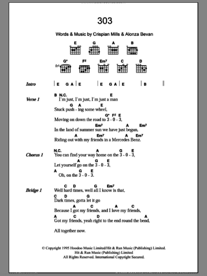 303 sheet music for guitar (chords) by Crispian Mills, Kula Shaker and Alonza Bevan. Score Image Preview.