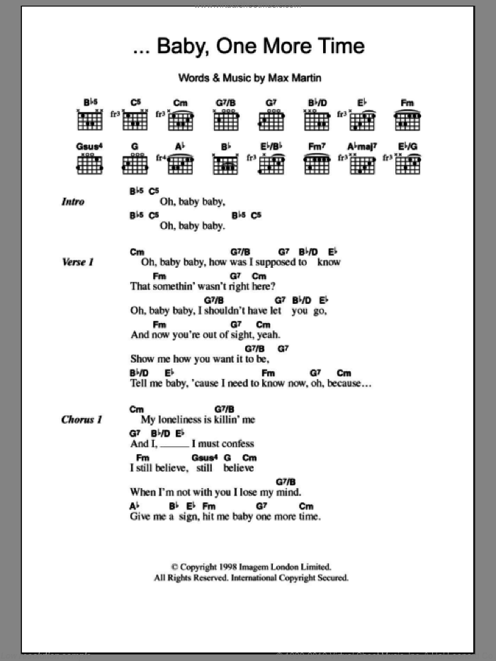 ...Baby One More Time sheet music for guitar (chords) by Max Martin and Britney Spears. Score Image Preview.