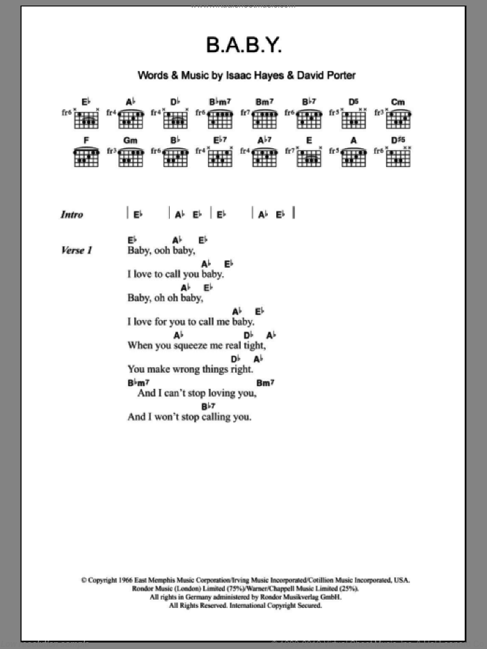 B.A.B.Y. sheet music for guitar (chords) by Isaac Hayes, Carla Thomas and David Porter. Score Image Preview.