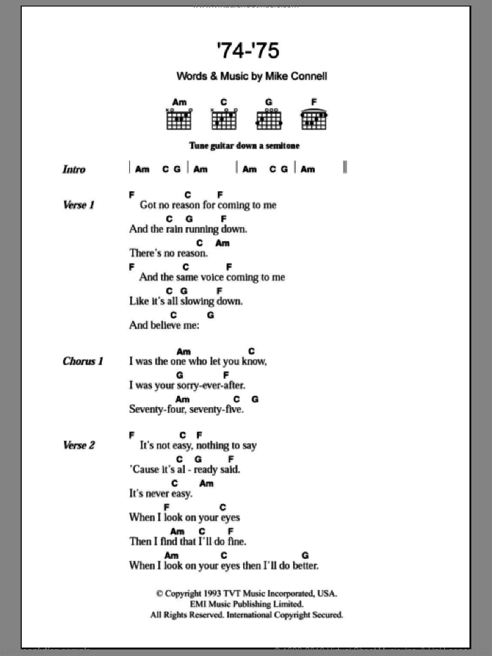 '74-'75 sheet music for guitar (chords) by Mike Connell