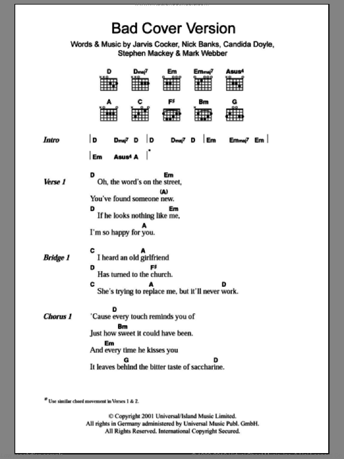 Bad Cover Version sheet music for guitar (chords) by Pulp, Candida Doyle, Jarvis Cocker, Mark Webber, Nick Banks and Stephen Mackey, intermediate