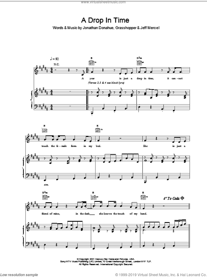 A Drop In Time sheet music for voice, piano or guitar by Jonathan Donahue