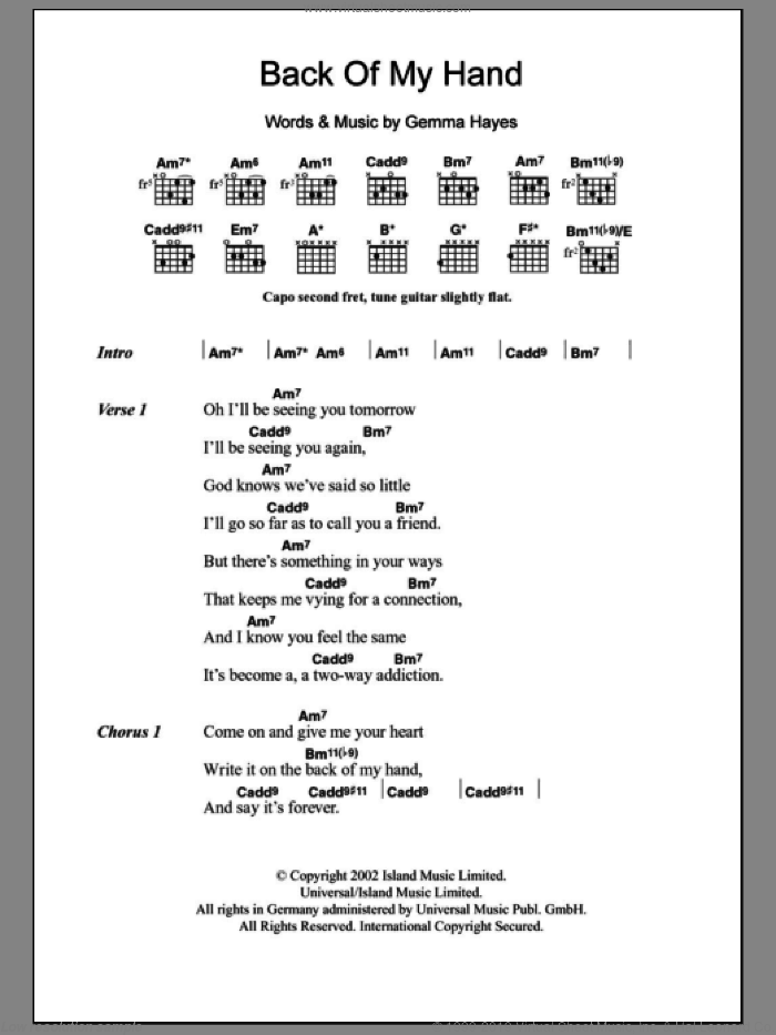 Back Of My Hand sheet music for guitar (chords) by Gemma Hayes. Score Image Preview.