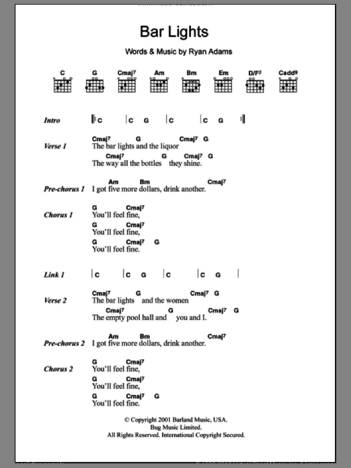 Bar Lights sheet music for guitar solo (chords, lyrics, melody) by Ryan Adams