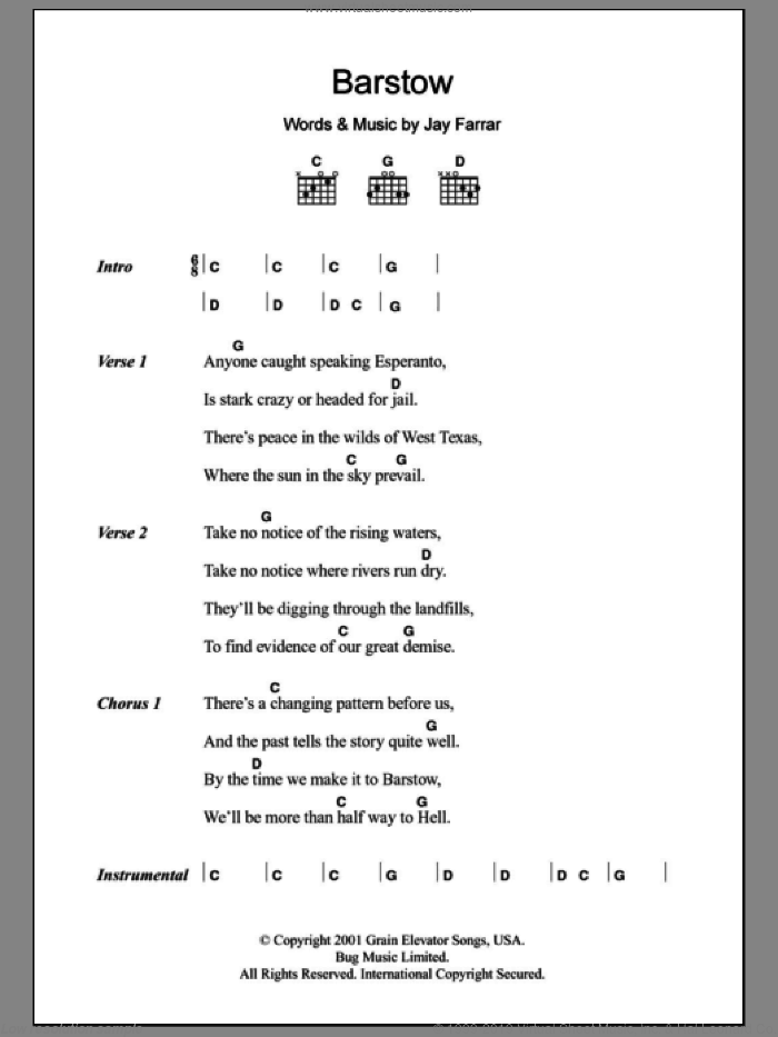 Barstow sheet music for guitar (chords) by Jay Farrar, intermediate