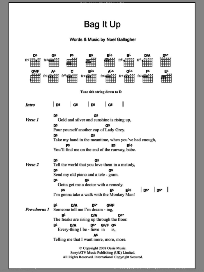 Bag It Up sheet music for guitar (chords) by Noel Gallagher