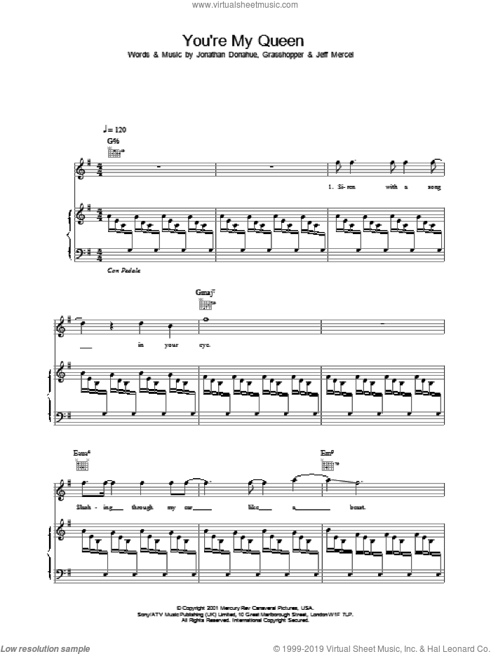 You're My Queen sheet music for voice, piano or guitar by Mercury Rev, intermediate voice, piano or guitar. Score Image Preview.