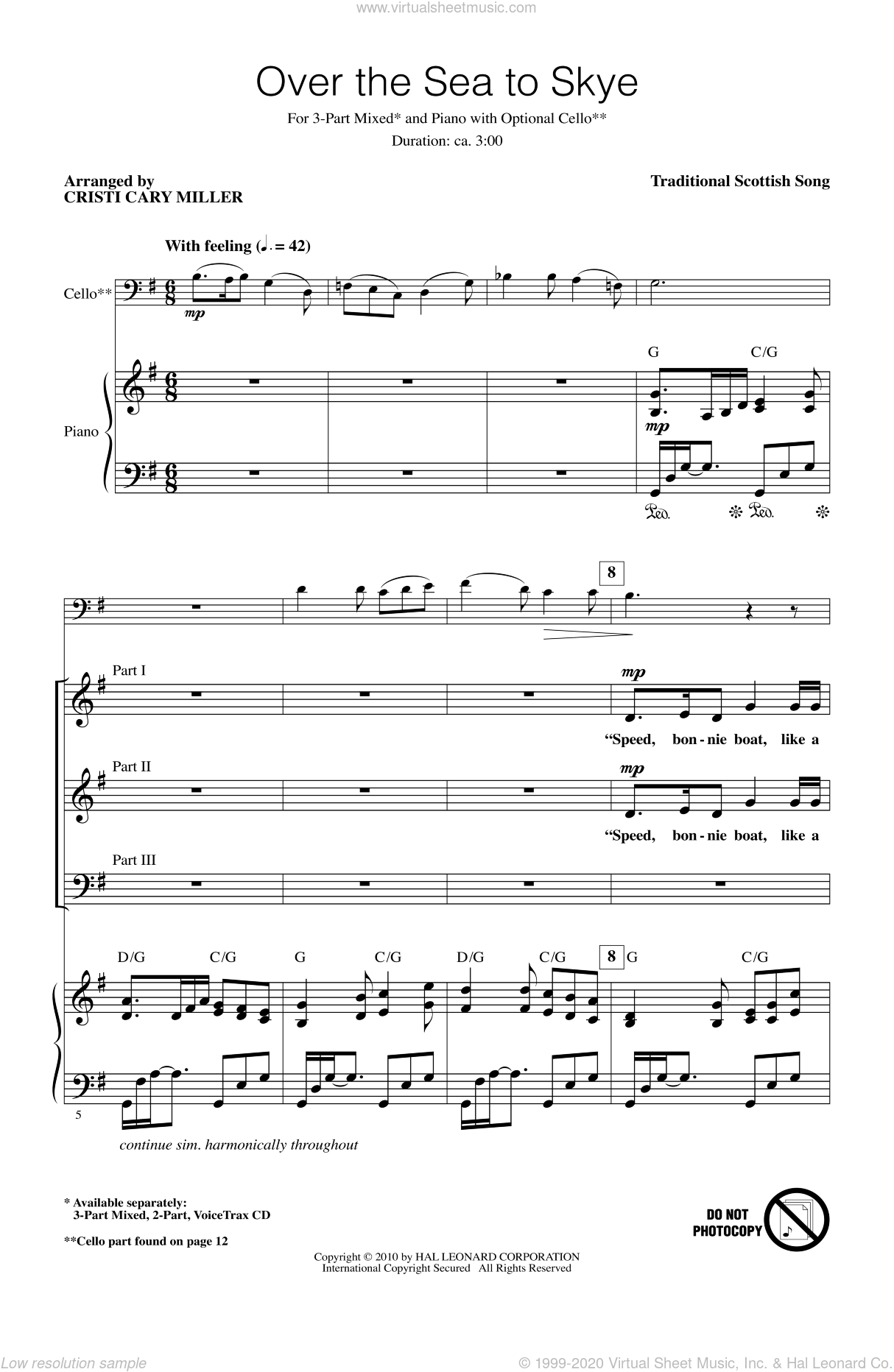 The Skye Boat Song sheet music for choir (chamber ensemble) by Cristi Cary Miller, intermediate. Score Image Preview.