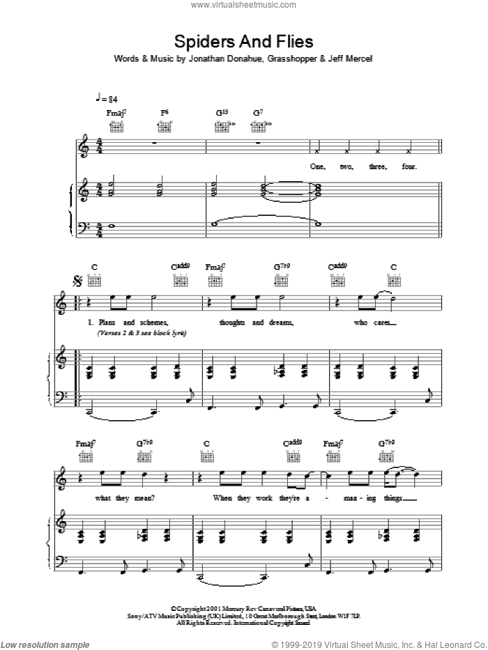 Spiders And Flies sheet music for voice, piano or guitar by Jonathan Donahue