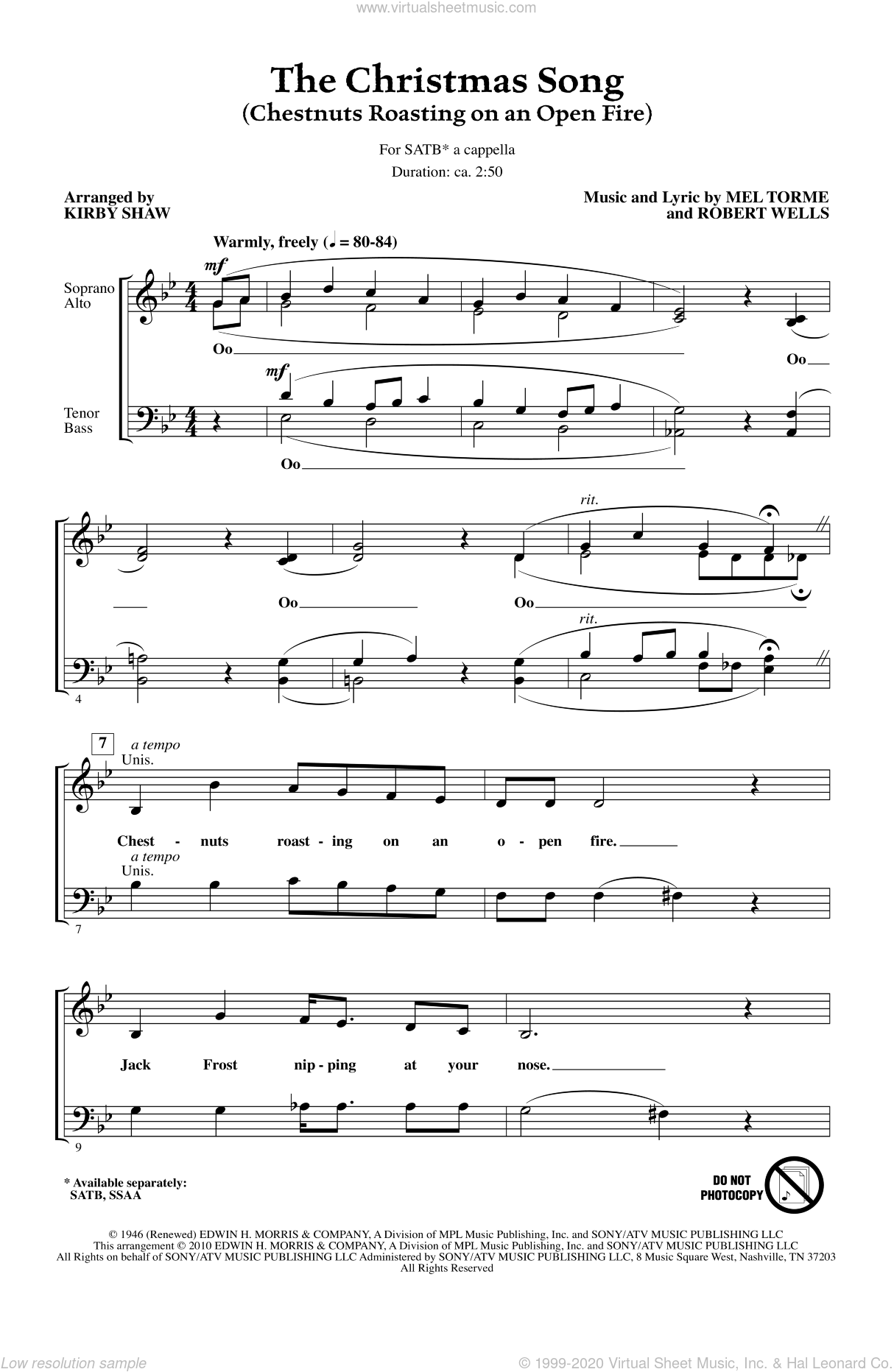 The Christmas Song (Chestnuts Roasting On An Open Fire) sheet music for choir and piano (SATB) by Robert Wells