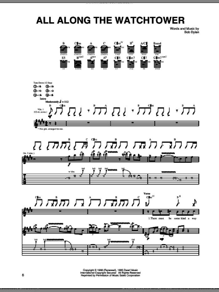 All Along The Watchtower sheet music for guitar (tablature) by Jimi Hendrix, U2 and Bob Dylan, intermediate skill level