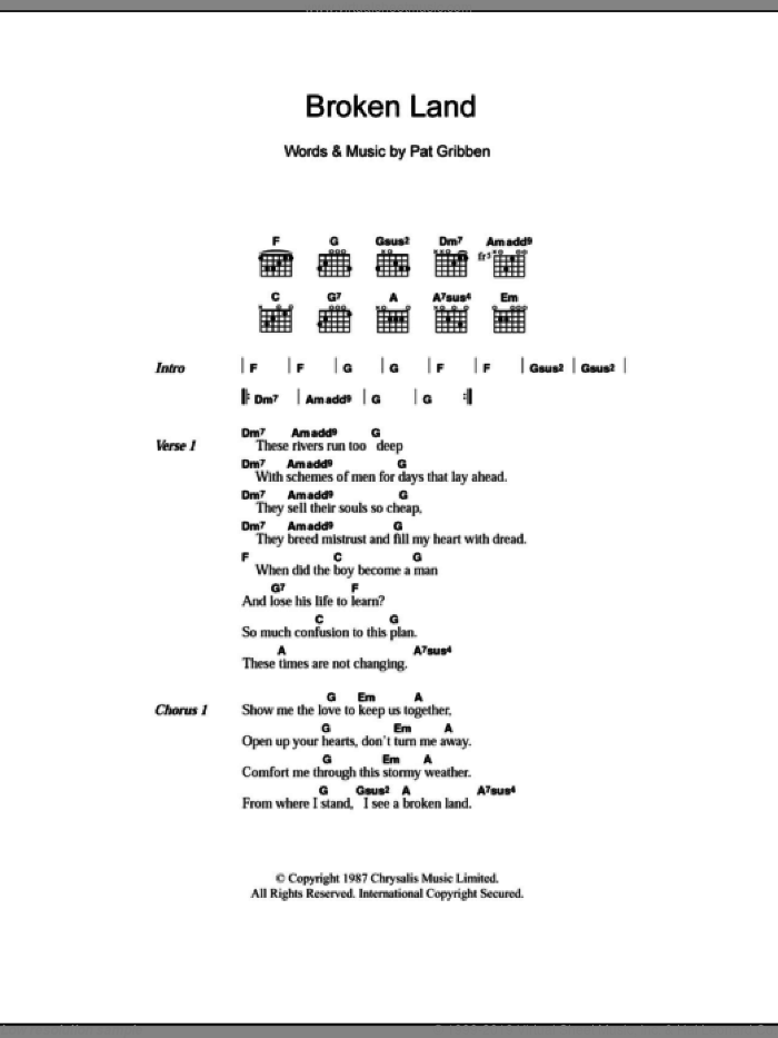Broken Land sheet music for guitar (chords) by The Adventures and Pat Gribben, intermediate. Score Image Preview.