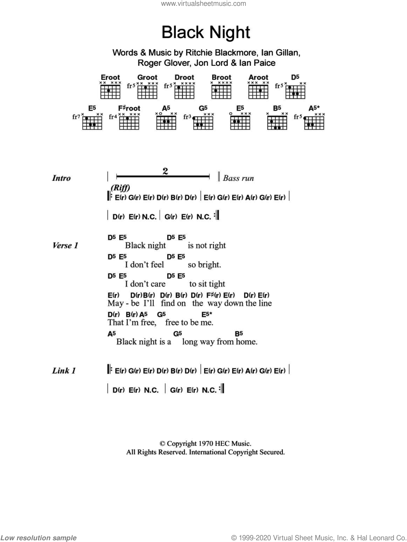 Black Night sheet music for guitar (chords, lyrics, melody) by Roger Glover