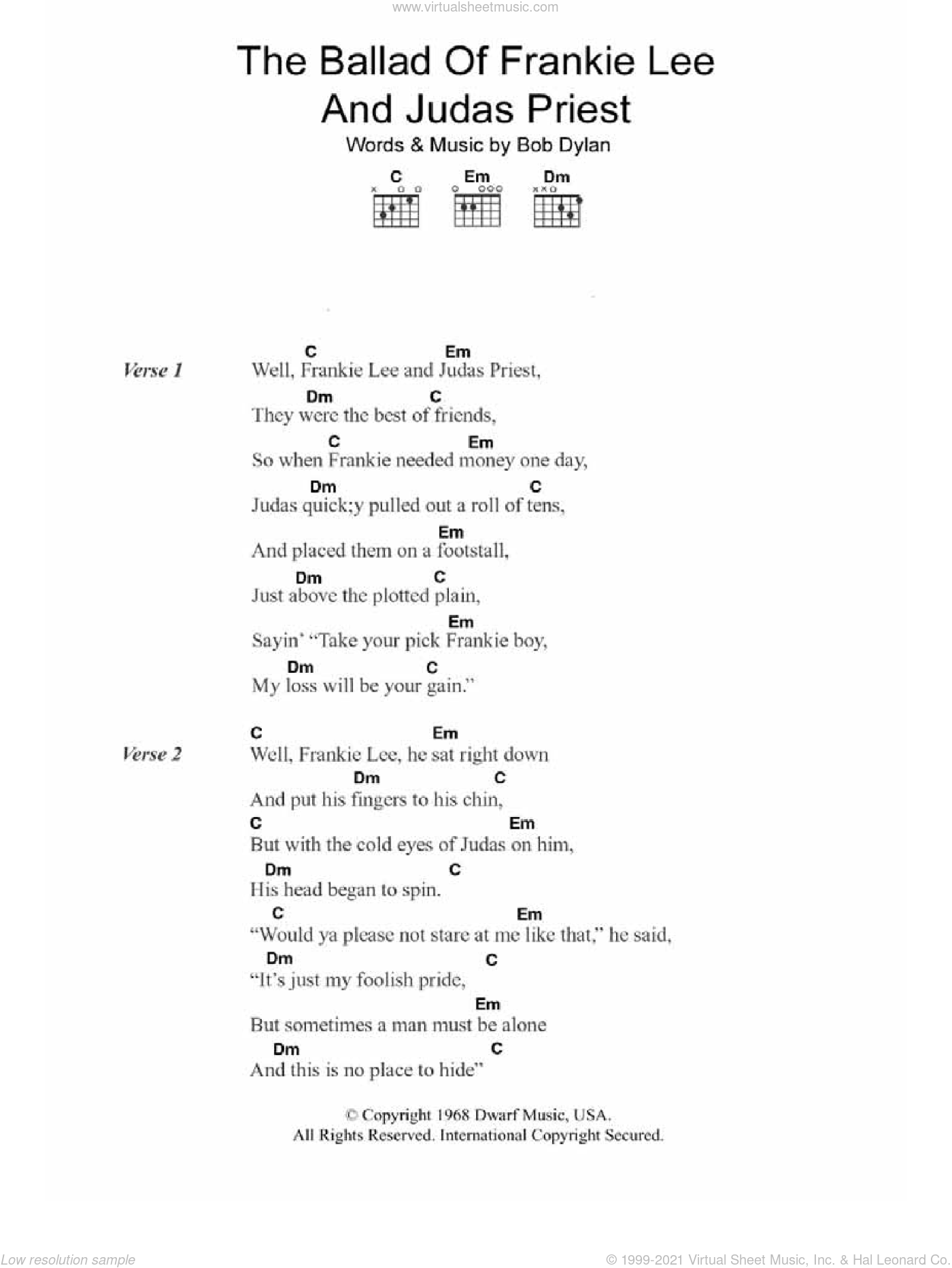 Dylan - The Ballad Of Frankie Lee And Judas Priest sheet music for guitar  (chords)