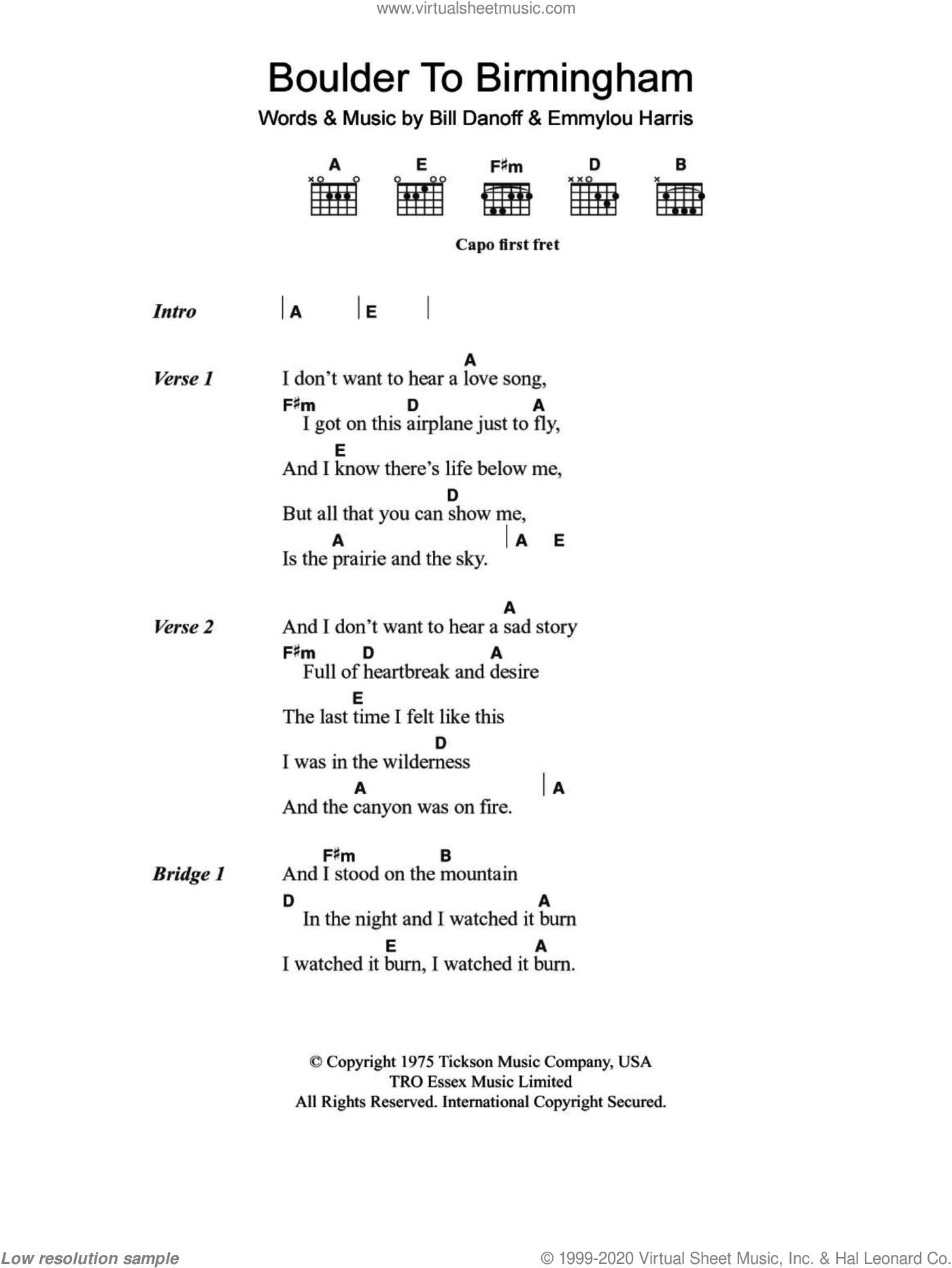 Harris Boulder To Birmingham Sheet Music For Guitar Chords