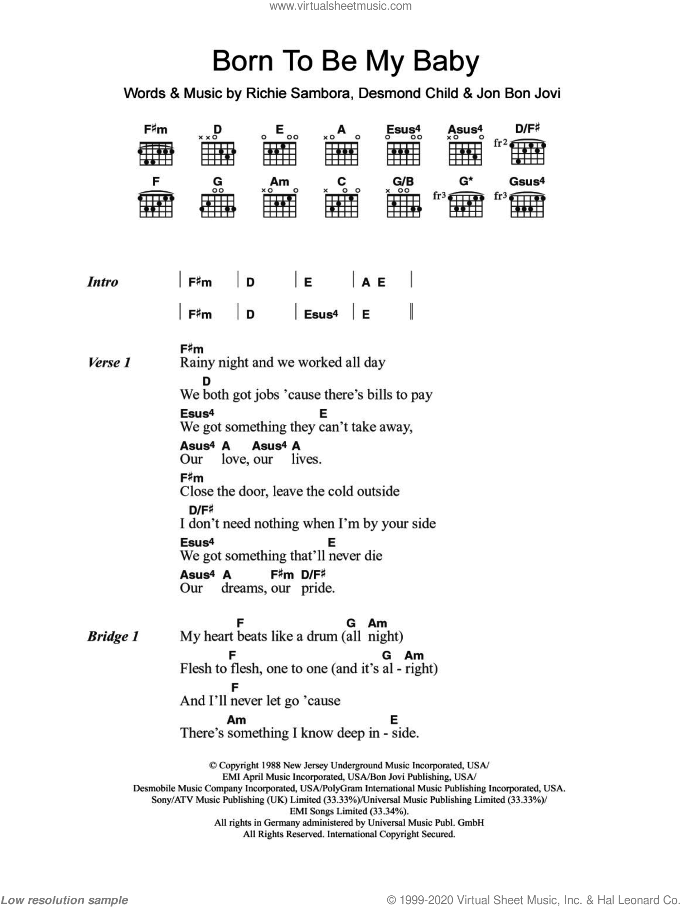 Born To Be My Baby sheet music for guitar (chords) by Bon Jovi, Desmond Child and Richie Sambora, intermediate guitar (chords). Score Image Preview.