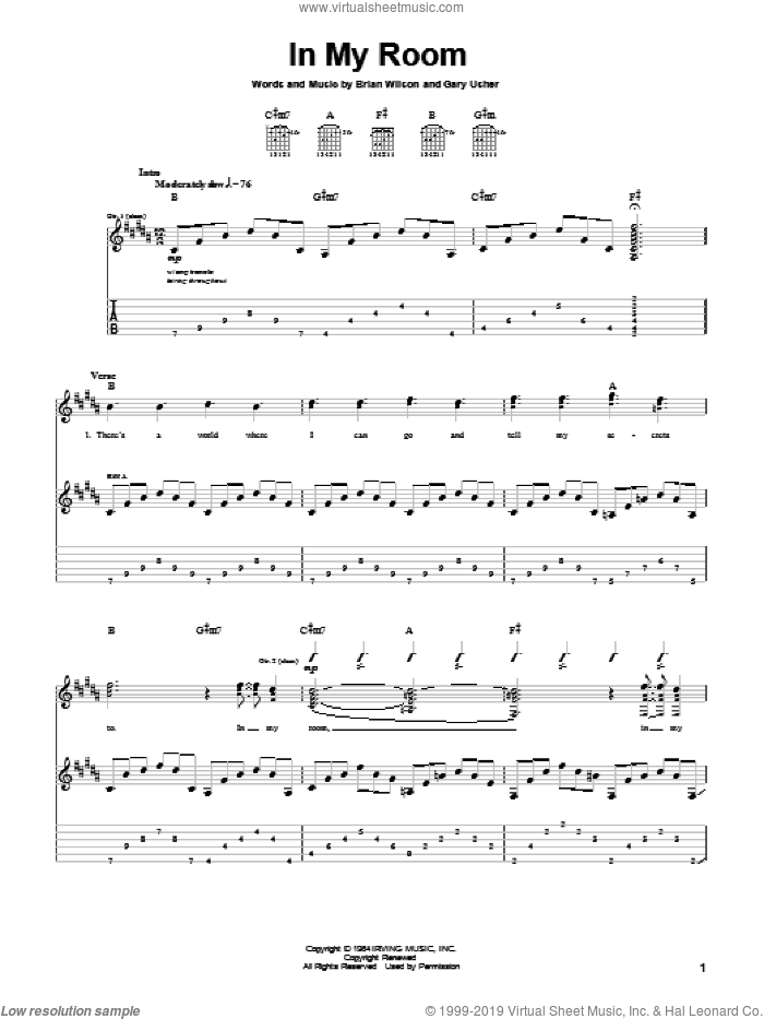 In My Room sheet music for guitar (tablature) by The Beach Boys, Brian Wilson and Gary Usher, intermediate. Score Image Preview.
