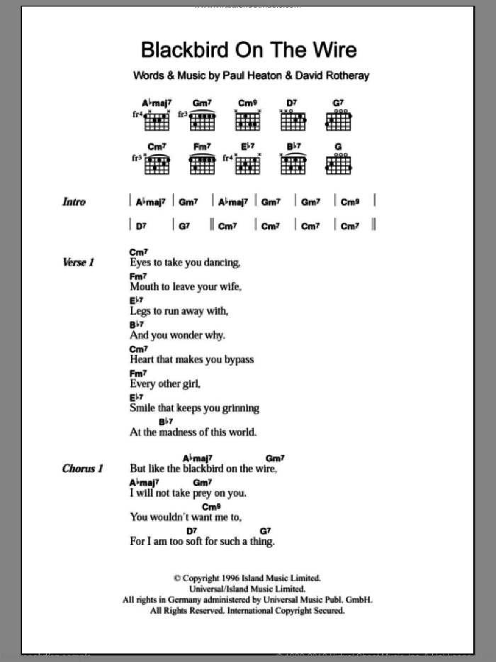 Blackbird On The Wire sheet music for guitar (chords, lyrics, melody) by Paul Heaton