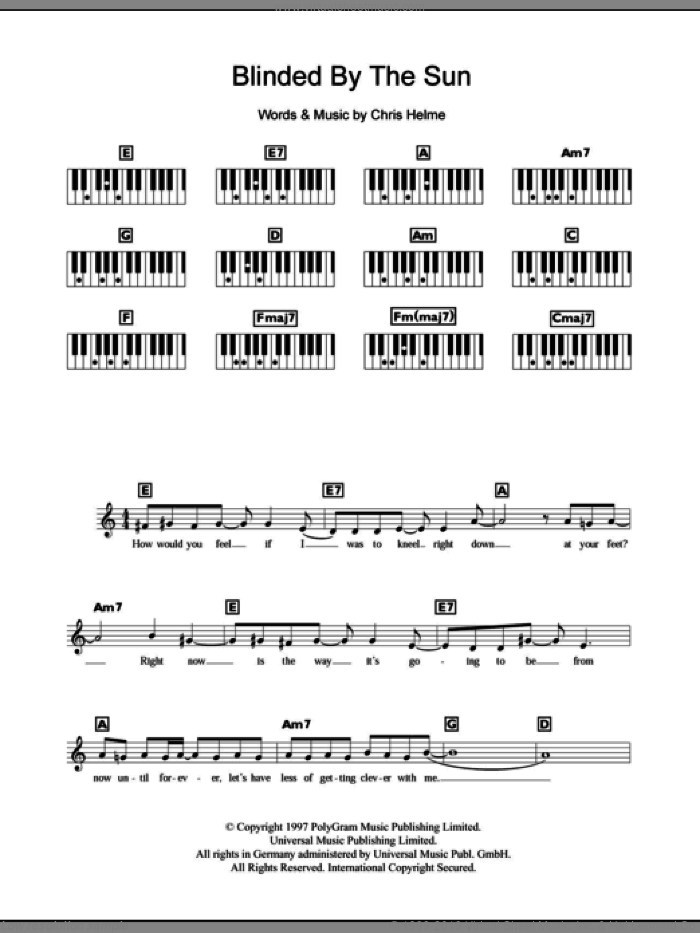 Blinded By The Sun sheet music for piano solo (chords, lyrics, melody) by The Seahorses, intermediate piano (chords, lyrics, melody). Score Image Preview.