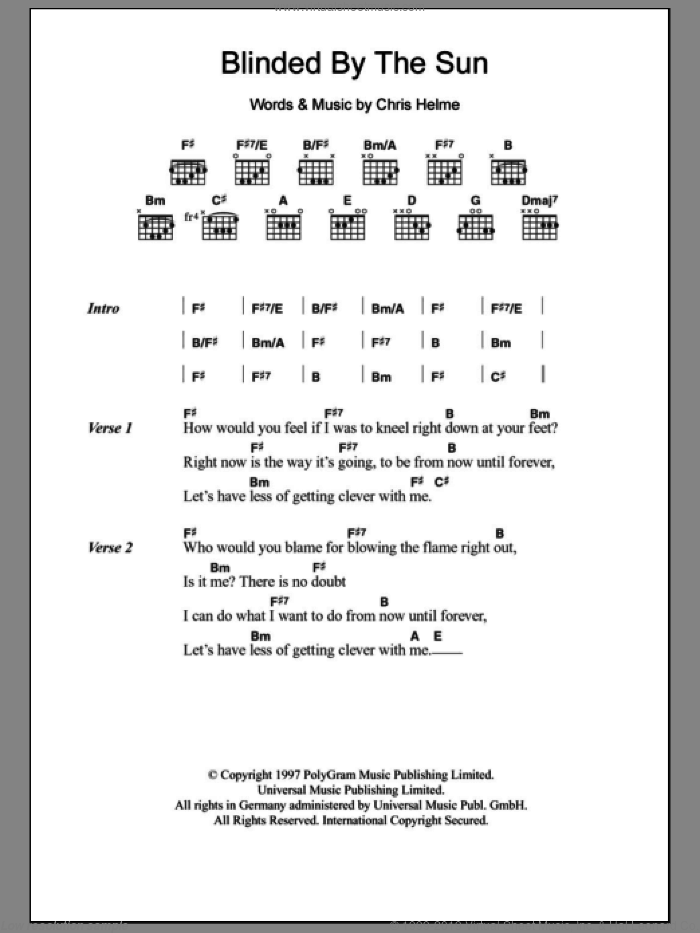Blinded By The Sun sheet music for guitar (chords) by Chris Helme. Score Image Preview.