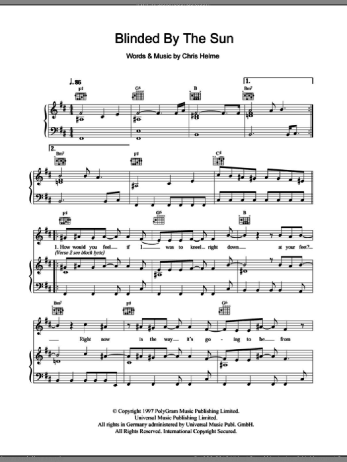 Blinded By The Sun sheet music for voice, piano or guitar by The Seahorses and Chris Helme, intermediate. Score Image Preview.