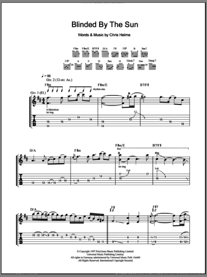 Blinded By The Sun sheet music for guitar (tablature) by The Seahorses, intermediate. Score Image Preview.
