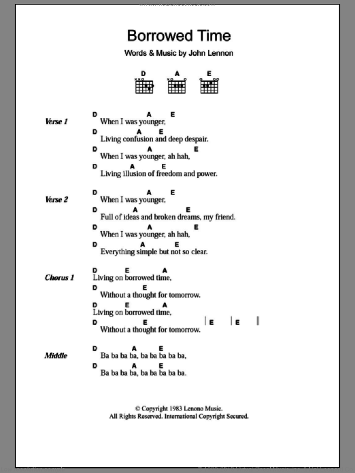Borrowed Time sheet music for guitar (chords) by John Lennon. Score Image Preview.