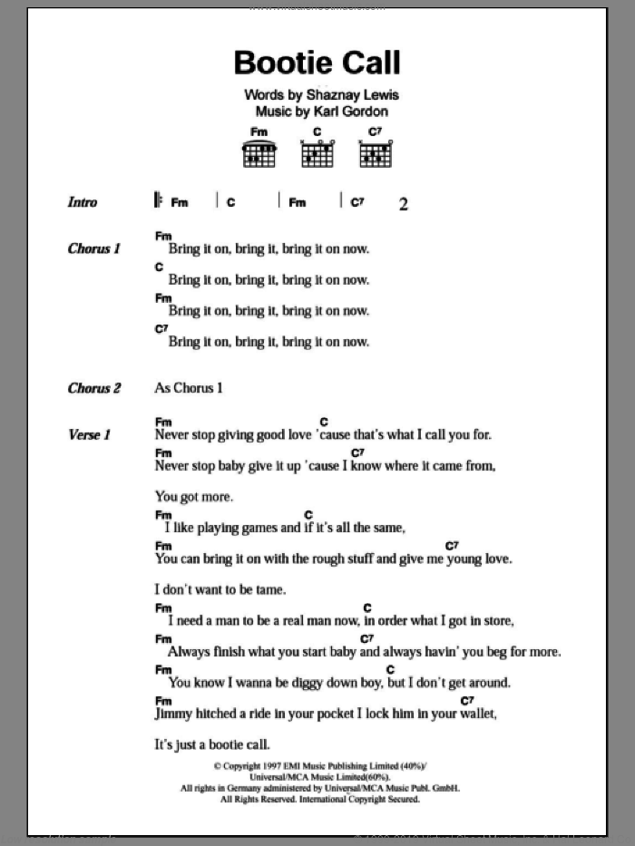 Bootie Call sheet music for guitar (chords) by Shaznay Lewis and All Saints. Score Image Preview.