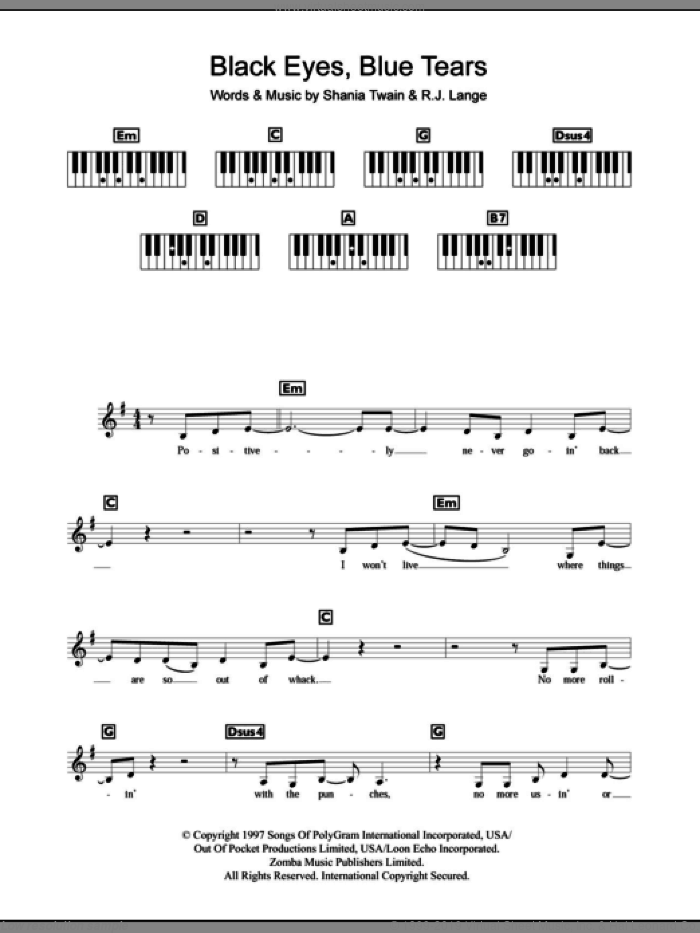Black Eyes, Blue Tears sheet music for piano solo (chords, lyrics, melody) by Robert John Lange