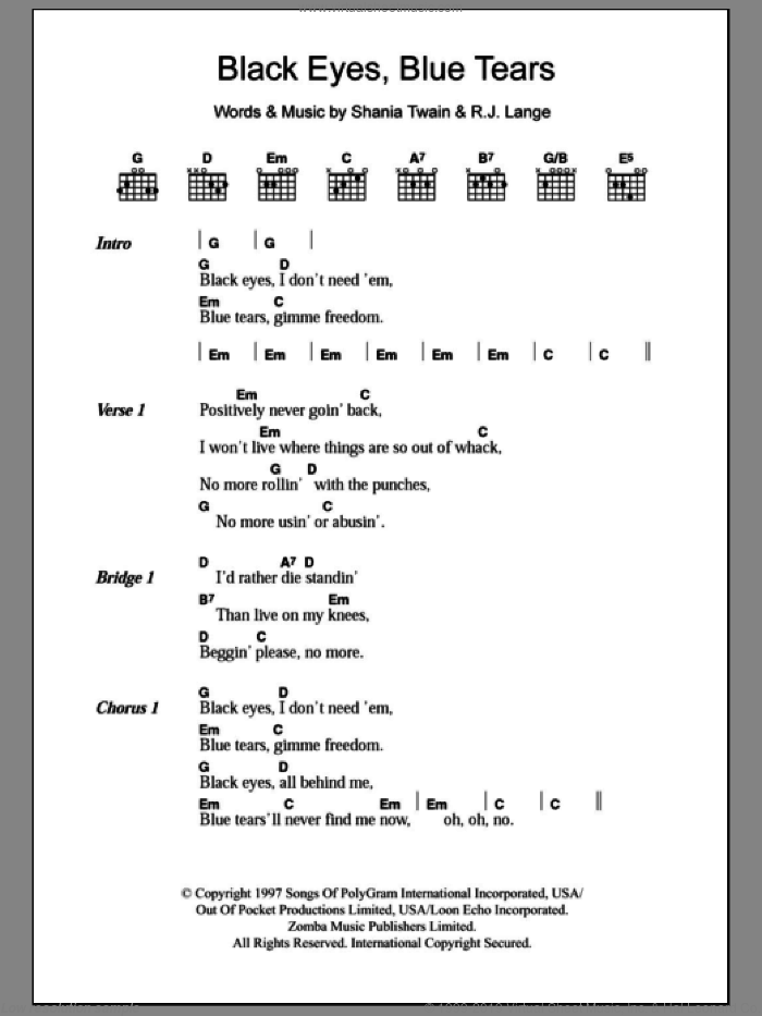 Black Eyes, Blue Tears sheet music for guitar (chords) by Robert John Lange and Shania Twain. Score Image Preview.