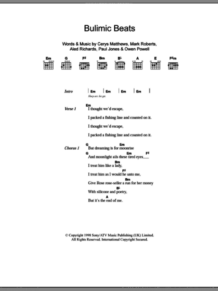 Bulimic Beats sheet music for guitar (chords) by Paul Jones, Catatonia, Aled Richards and Mark Roberts. Score Image Preview.