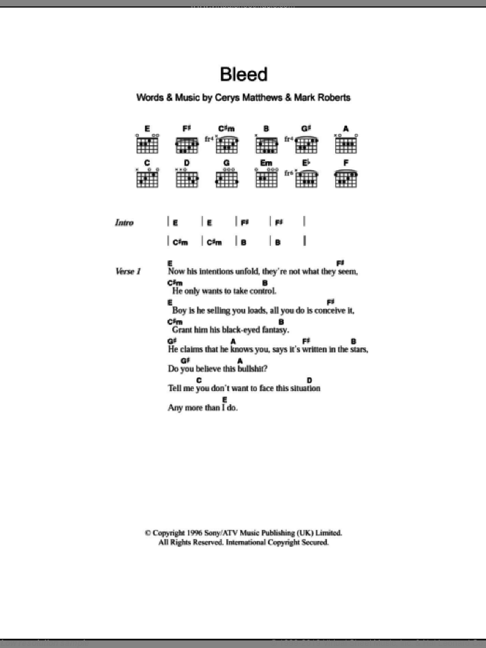 Bleed sheet music for guitar (chords) by Mark Roberts