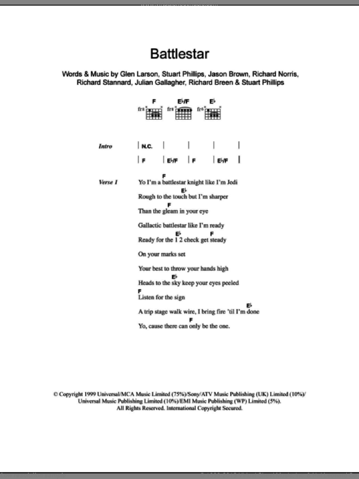 Battlestar sheet music for guitar solo (chords, lyrics, melody) by Stuart Phillips
