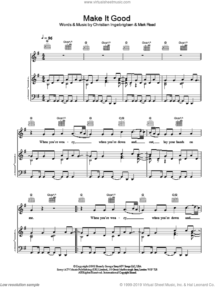 Make It Good sheet music for voice, piano or guitar by Mark Read and A1. Score Image Preview.