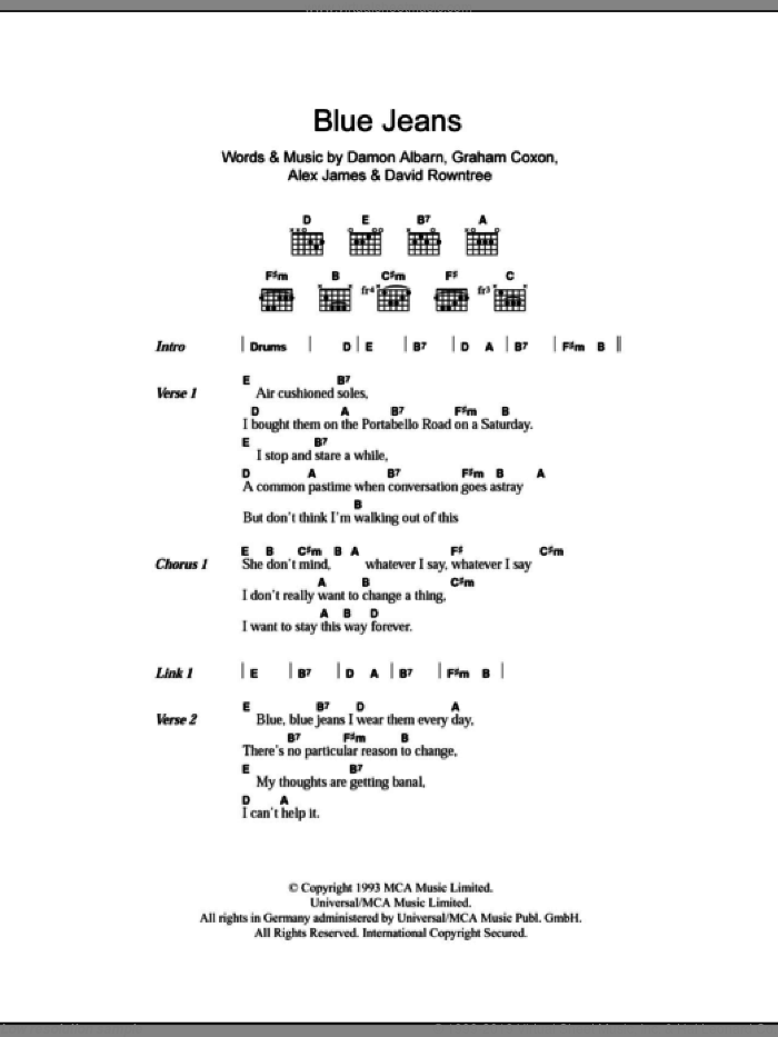 Blue Jeans sheet music for guitar (chords) by Graham Coxon
