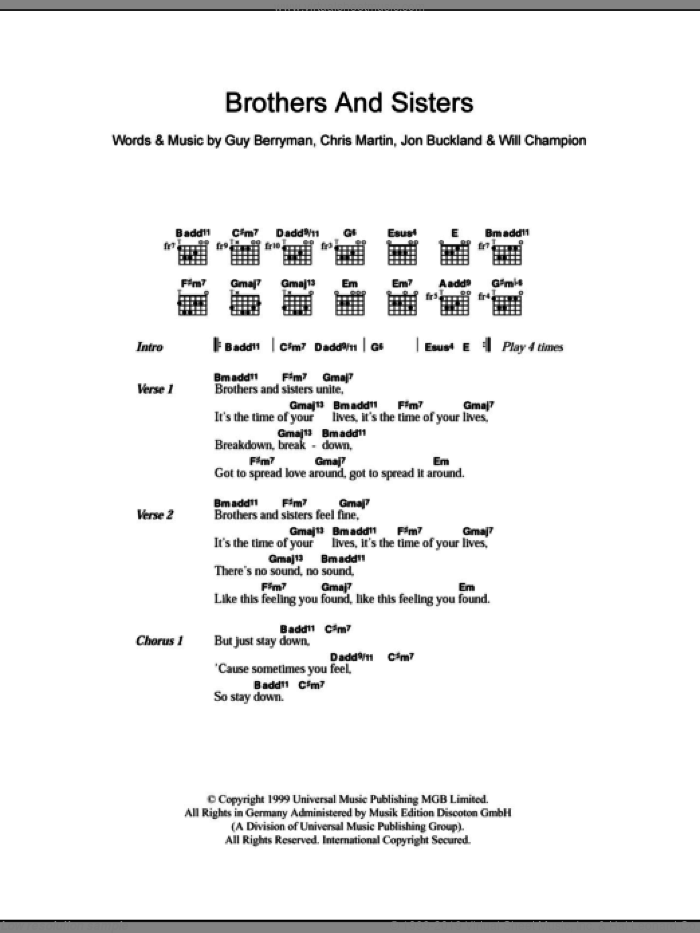Brothers And Sisters sheet music for guitar (chords) by Coldplay, intermediate guitar (chords). Score Image Preview.