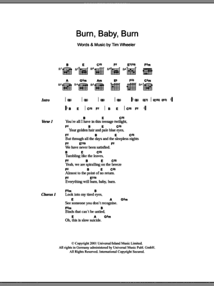 Burn Baby Burn sheet music for guitar (chords) by Tim Wheeler, intermediate guitar (chords). Score Image Preview.