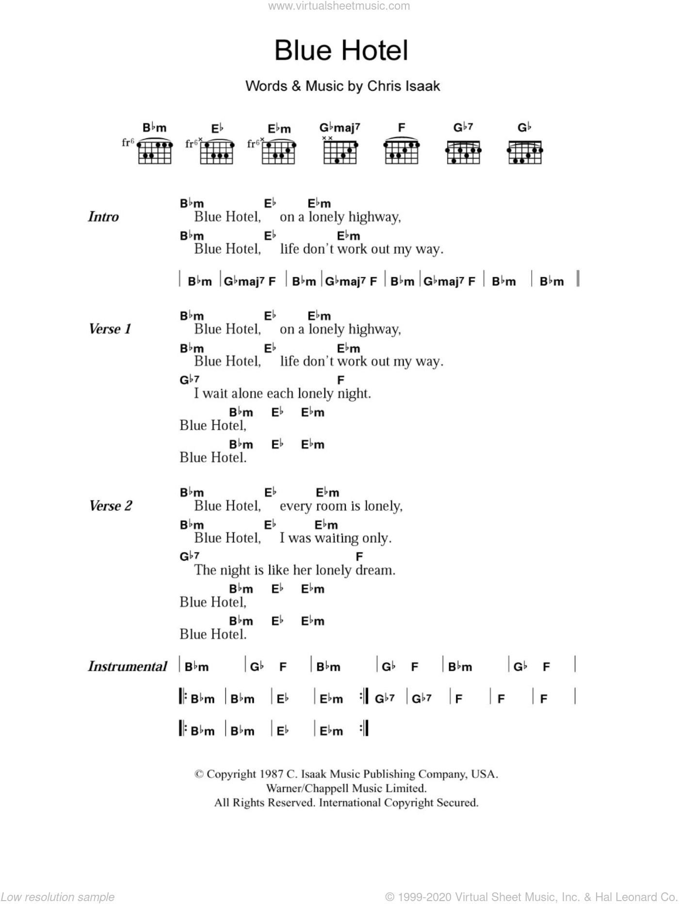 Blue Hotel sheet music for guitar (chords) by Chris Isaak
